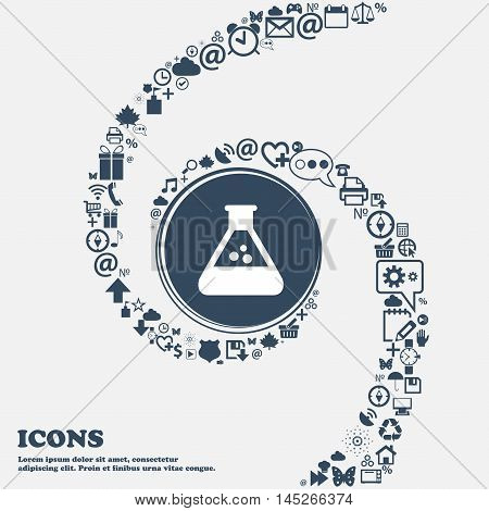 Chemistry Icon In The Center. Around The Many Beautiful Symbols Twisted In A Spiral. You Can Use Eac