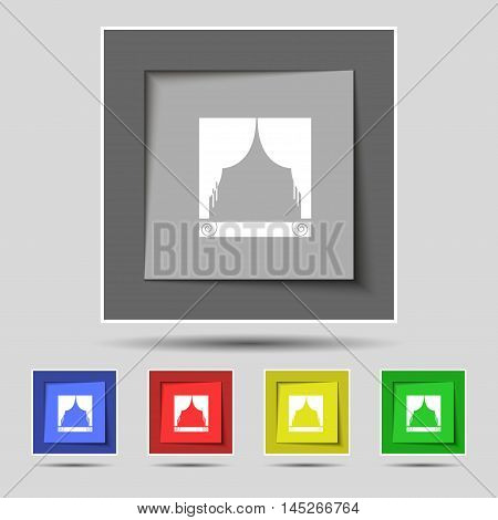 Window Curtains Icon Sign On Original Five Colored Buttons. Vector