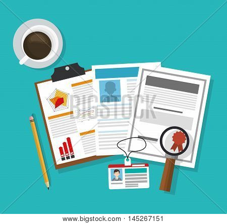 human resources document lupe coffee mug search employee business icon. Colorful design blue background. Vector illustration
