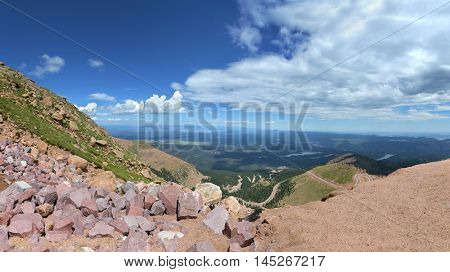 Panoramic view from Pikes Peak Mountains in Colorado - Stitched from 6 images