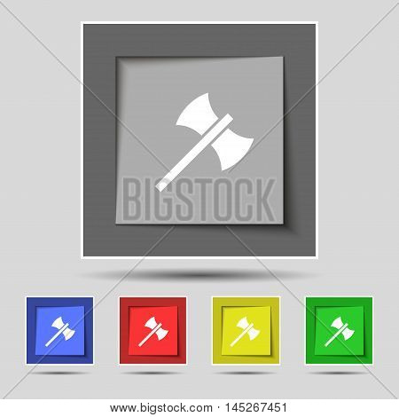 Battle Axe Icon Sign On Original Five Colored Buttons. Vector