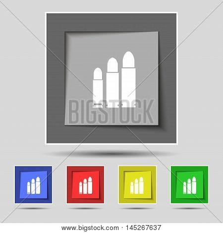 Bullet Icon Sign On Original Five Colored Buttons. Vector