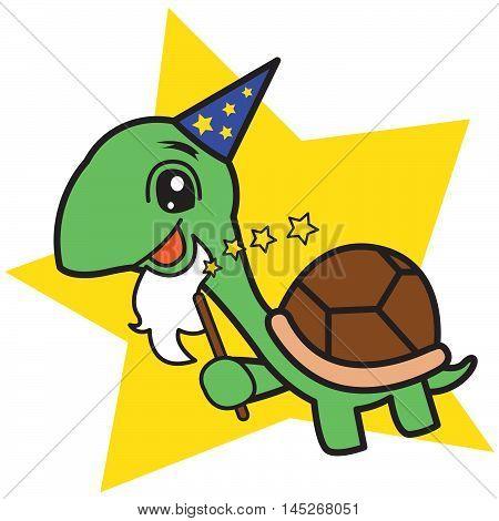 Wizard Turtle cartoon vector art illustration for kids