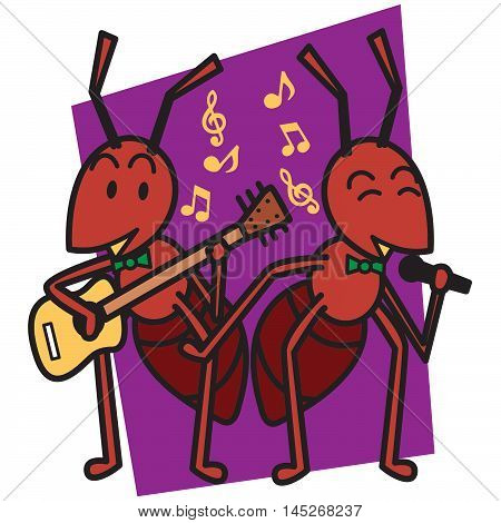 Ants sing a song vector art illustration