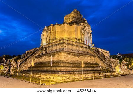 Ancient pagoda at Wat Chedi Luang temple 700 years in Chiang Mai Asia Thailand They are public domain or treasure of Buddhism no restrict in copy or use
