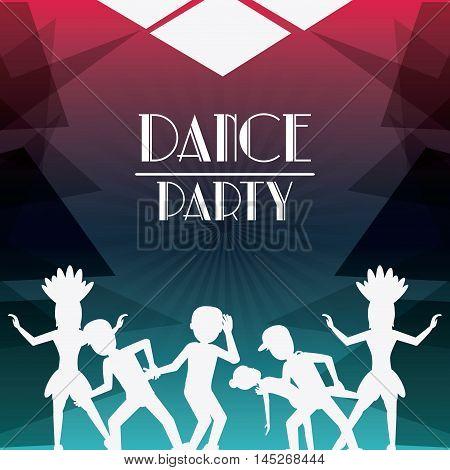 girls boys cartoons avatar dancer dance studio academy advertising icon. Silhouette design. Polygonal background. Vector illustration