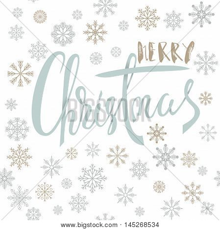 Merry Christmas handwritten lettering design with gold and silver snowflakes on white background. Vector illustration. Snowflakes background. EPS 10