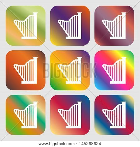 Harp Icon . Nine Buttons With Bright Gradients For Beautiful Design. Vector