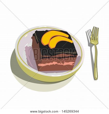 Vector chocolate biscuit dessert, decorated with slices of mango, served in a porcelain cup and gold fork