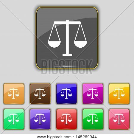 Scales Of Justice Icon Sign. Set With Eleven Colored Buttons For Your Site. Vector