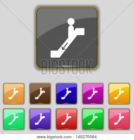 Escalator Down Icon Sign. Set With Eleven Colored Buttons For Your Site. Vector