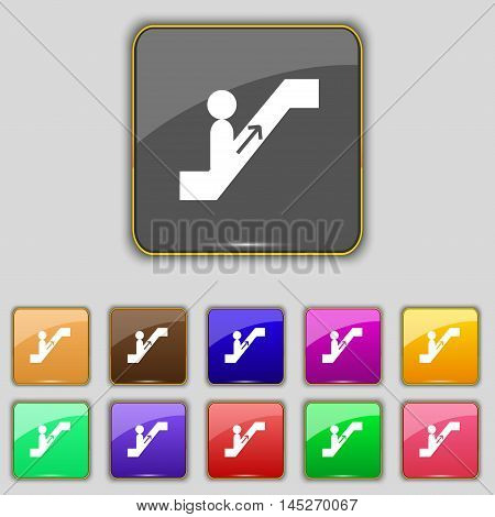 Escalator Icon Sign. Set With Eleven Colored Buttons For Your Site. Vector