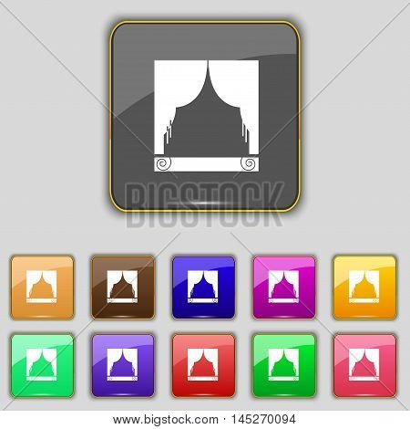 Window Curtains Icon Sign. Set With Eleven Colored Buttons For Your Site. Vector