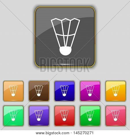 Shuttlecock Icon Sign. Set With Eleven Colored Buttons For Your Site. Vector