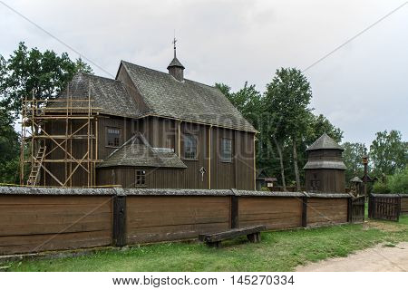 Wooden Church Standing On The Hill