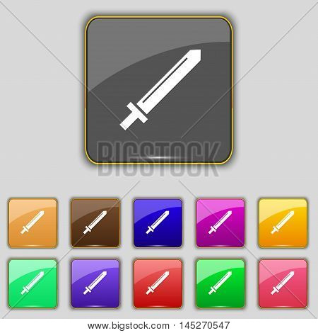 Sword Icon Sign. Set With Eleven Colored Buttons For Your Site. Vector