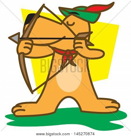 Archer Dog of illustration vector art for kids