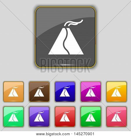 Active Erupting Volcano Icon Sign. Set With Eleven Colored Buttons For Your Site. Vector