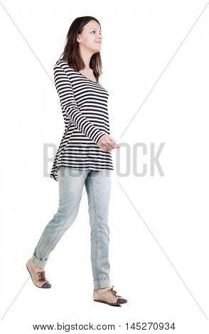 back view of walking  woman in frock. beautiful brunette girl in motion.  backside view of person.  Rear view people collection. Isolated over white background.