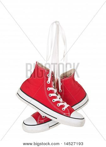 Vintage Hanging Red Shoes Tied