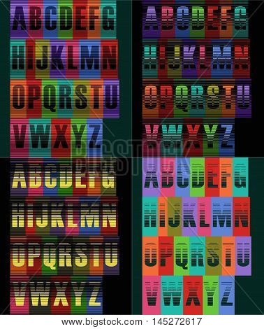 Striped artistic alphabets. Unusual font. Striped background. Vector illustration