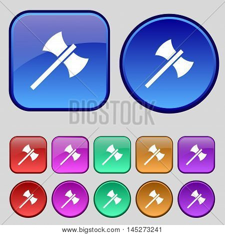 Battle Axe Icon Sign. A Set Of Twelve Vintage Buttons For Your Design. Vector