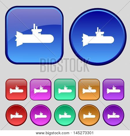 Submarine Icon Sign. A Set Of Twelve Vintage Buttons For Your Design. Vector