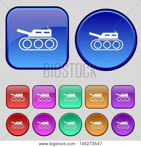 Tank, War, Army Icon Sign. A Set Of Twelve Vintage Buttons For Your Design. Vector