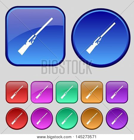 Shotgun Icon Sign. A Set Of Twelve Vintage Buttons For Your Design. Vector