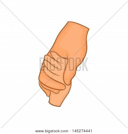 Human hands demonstrating a gesture of or solidarity, white background