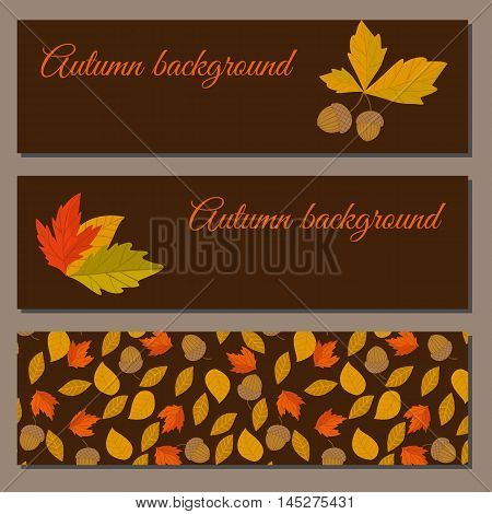 Banner of autumn leaves vector illustration. Background with hand drawn autumn leaves. Design elements. Autumn leaves fall on banner. Natural concept background. Autumn leaf. Autumn banner template.