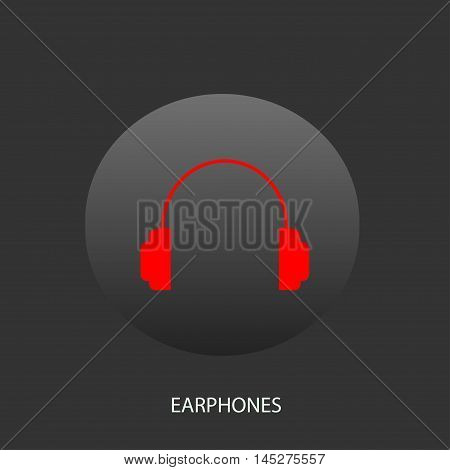 Illustration on which the icon of earphones against a dark background is figured