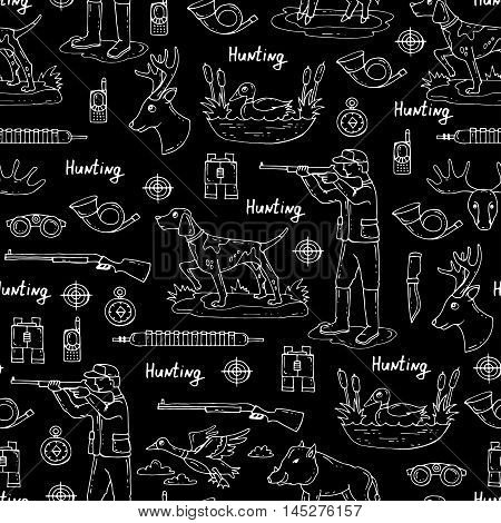 Vector seamless pattern with hand drawn isolated symbols of hunting on black color. Pattern on the theme of hobbies for men. Background for use in design, packing, web site, fabric
