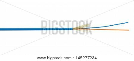 Fiber Optical Cable Detail Isolated On White