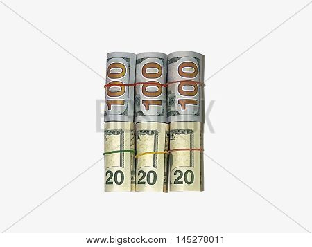 Rolls Dollar banknotes. Dollar currency money isolated background