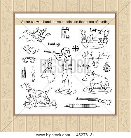 Vector set with hand drawn isolated doodles on the theme of hunting. Hobbies for men. Sketches for use in design