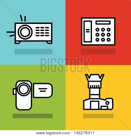 Household appliances icons with black stroke on color background. Photo and video camera. Vector illustration