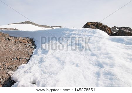 Barrier between snow and the land at Antarctica