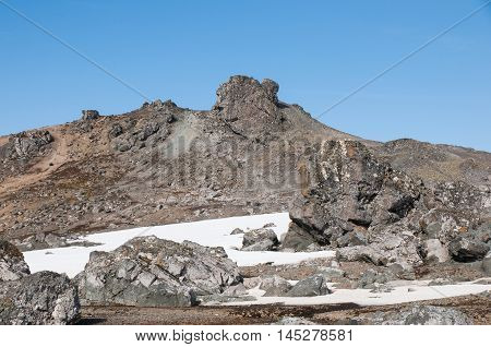 Rock mountain and snow landscape at Antarctica