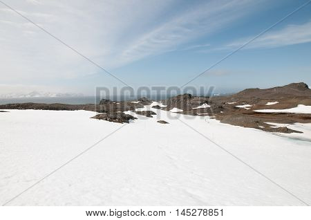 Landscape and snow mountain at the Antarctica