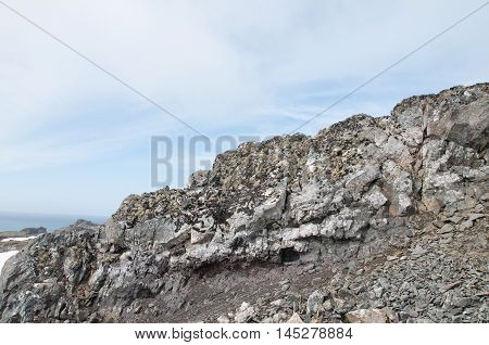 Landscape of snow and rock mountain background at Antarctica