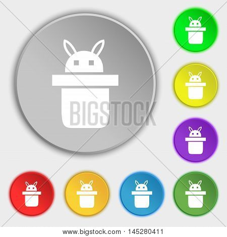 Magician Hat. Rabbit Ears Icon Sign. Symbol On Eight Flat Buttons. Vector