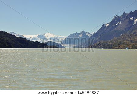 Lake from the ice melting and mountain at Torres del Paine National Park