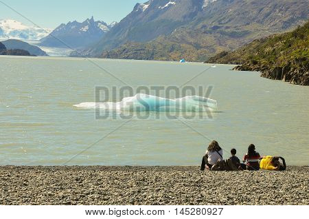 Lake from ice melting and mountain at Torres del Paine National Park