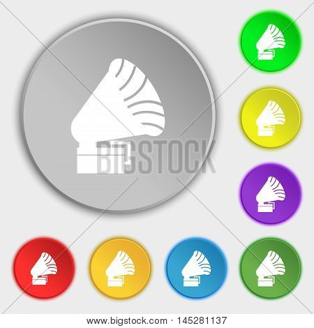 Gramophone Icon. Sign. Symbol On Eight Flat Buttons. Vector