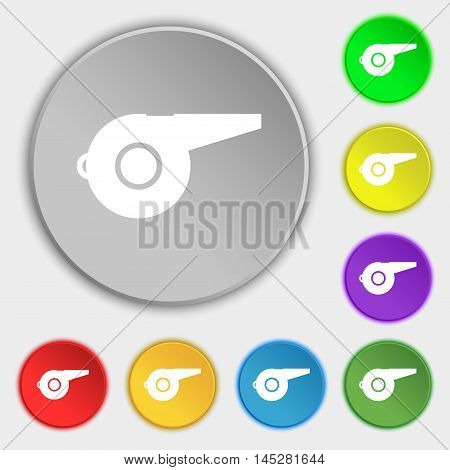 Whistle Icon Sign. Symbol On Eight Flat Buttons. Vector