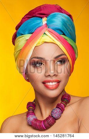 Fashion Afro American Girl With Ethnic Turban On Head