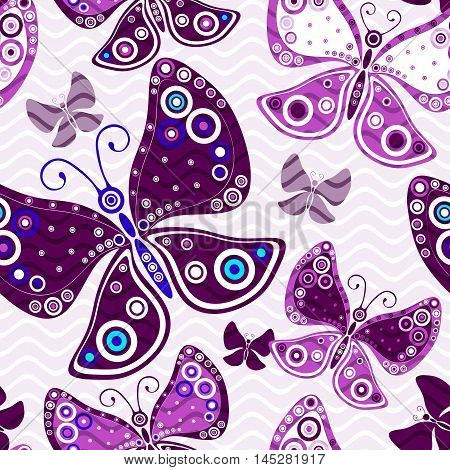 Seamless vivid pattern with violet butterflies and translucent waves (vector eps10)