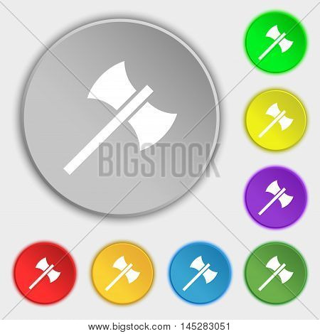 Battle Axe Icon Sign. Symbol On Eight Flat Buttons. Vector