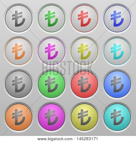 Set of Turkish Lira sign plastic sunk spherical buttons.